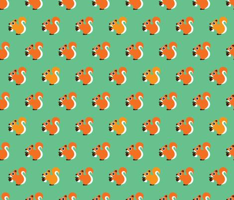 Retro fall orange squirrel autumn woodland animals scandinavian forest gender neutral fabric by littlesmilemakers on Spoonflower - custom fabric