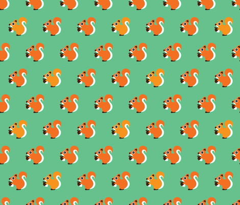 Retro fall orange squirrel autumn woodland animals scandinavian forest gender neutral fabric by littlesmilemakers on Spoonflower - custom fabric
