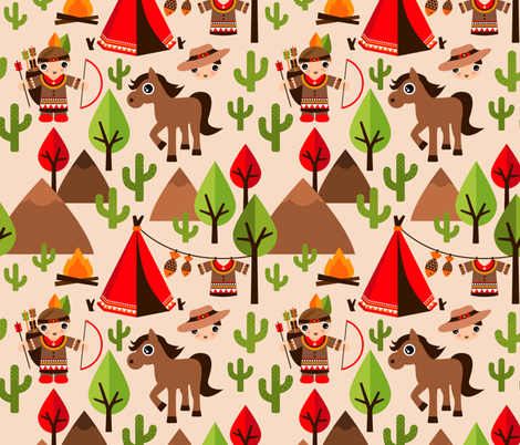 Cowboy and Indian western kids theme with teepee tent and horses fabric by littlesmilemakers on Spoonflower - custom fabric