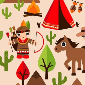 Cowboy and Indian western kids theme with teepee tent and horses