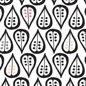 Retro black and white leaves and flowers garden scandinavian style