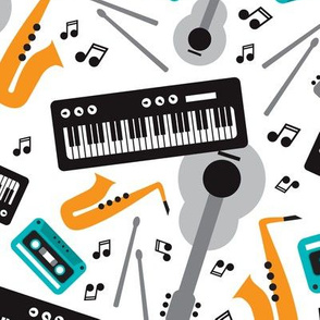 Music love musical instruments jazz party for kids and music lovers