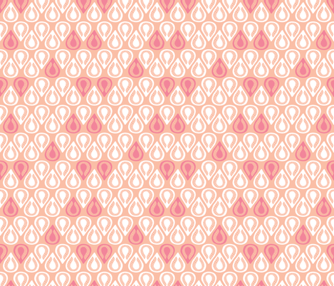 Retro drops abstract leaves in pastel pink scandinavian style fabric by littlesmilemakers on Spoonflower - custom fabric