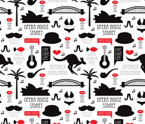 Australia outback down under travel icons of sydney  fabric by littlesmilemakers on Spoonflower - custom fabric
