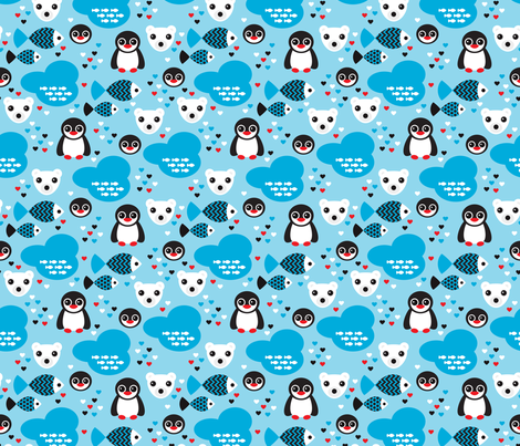 Penguins and polar bears arctic winter wonderland fabric by littlesmilemakers on Spoonflower - custom fabric