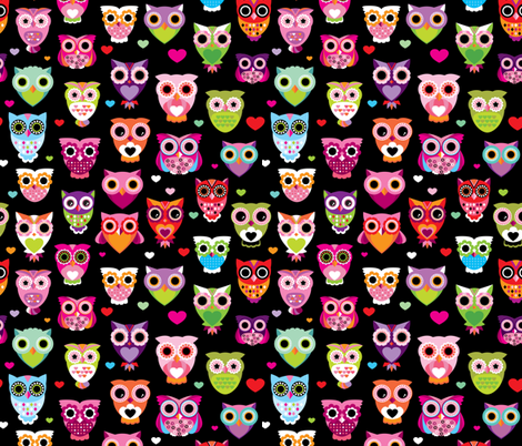 Retro colorful owls best selling owl print in colorful summer colors fabric by littlesmilemakers on Spoonflower - custom fabric