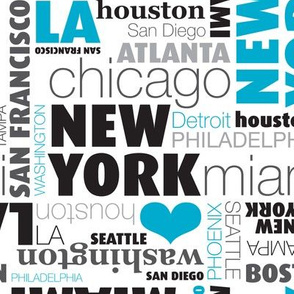 USA city typography print united states capitals