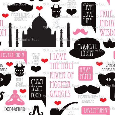 Hipster india mix buddha yoga travel icons pink girls