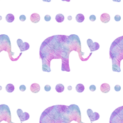 Pink and Purple Watercolor Elephant with Heart