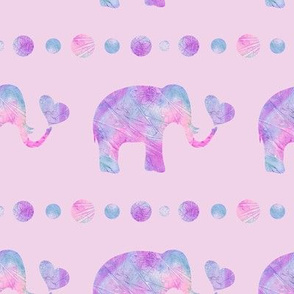 Pink and Purple Watercolor Elephant on Pink Background