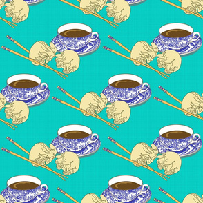 Tea and Dim Sum in Turquoise and Blue