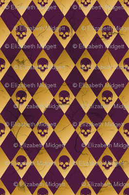distressed purple and gold harlequin skull