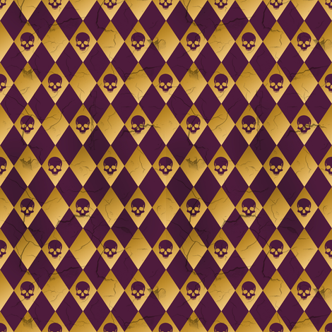 distressed purple and gold harlequin skull fabric by elizabeth on Spoonflower - custom fabric