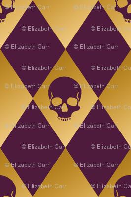 Purple and gold harlequin skull