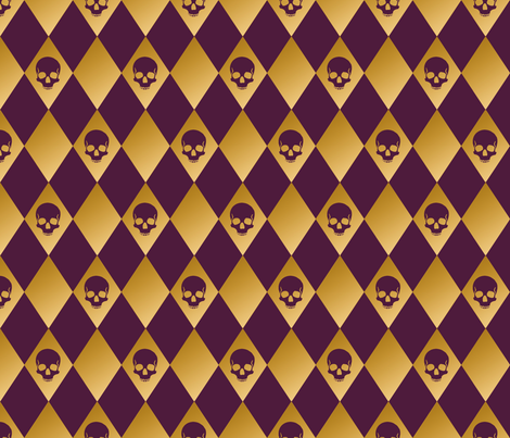 Purple and gold harlequin skull fabric by elizabeth on Spoonflower - custom fabric