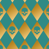 Teal and Gold Harlequin Skull