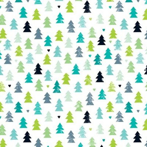 Christmas trees light pastel scandinavian woodland forest winter wonderland