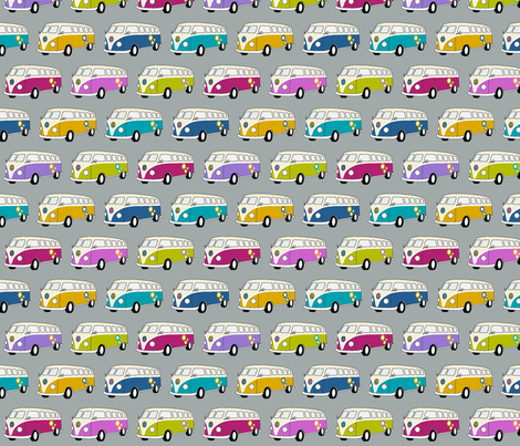 Campervans Jewel Colours on Grey - Small fabric by kipandfig on Spoonflower - custom fabric