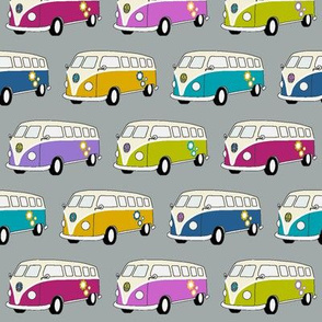 Campervans Jewel Colours on Grey - Small