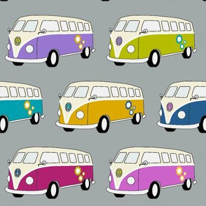 Campervan Jewel colours on Grey - Medium