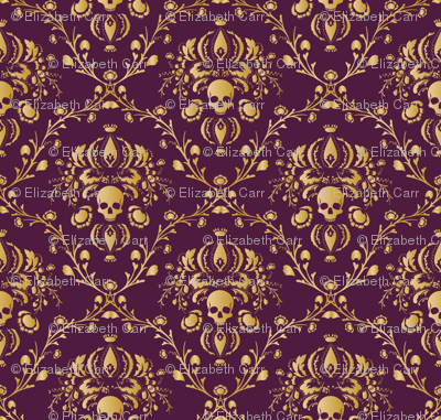 Purple And Gold Damask Non Distressed Giftwrap Elizabeth Spoonflower