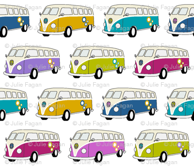 Camper Van Jewel Colours on White - Small
