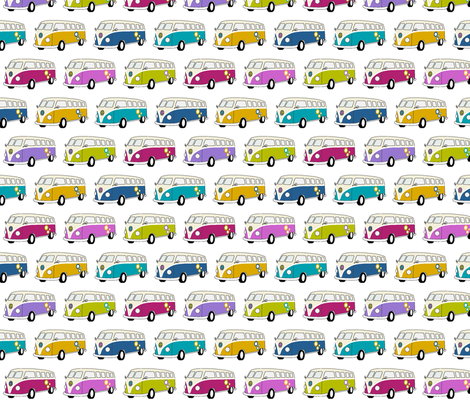Camper Van Jewel Colours on White - Small fabric by kipandfig on Spoonflower - custom fabric