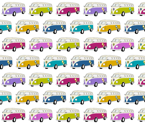 Campervans Jewel colours on White - Medium fabric by kipandfig on Spoonflower - custom fabric