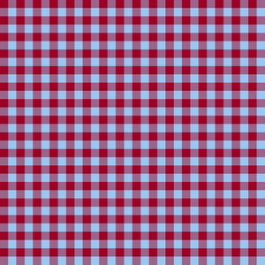 barn red and sky blue gingham