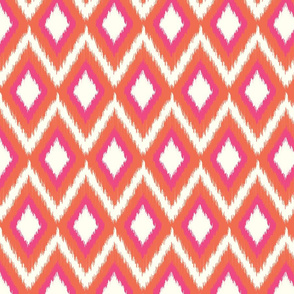Pink and Coral Tribal Ikat Chevron