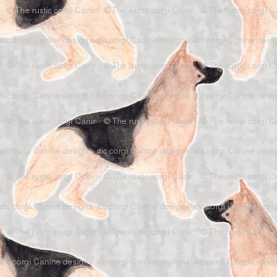German Shepherd dog watercolor profile