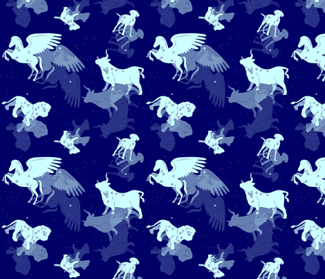 Constellations in Blue fabric by yourfriendamy on Spoonflower - custom fabric