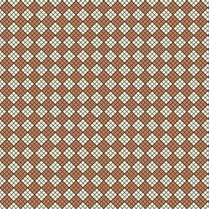 Cream Rust Dk Brown Plaid Diagonal.