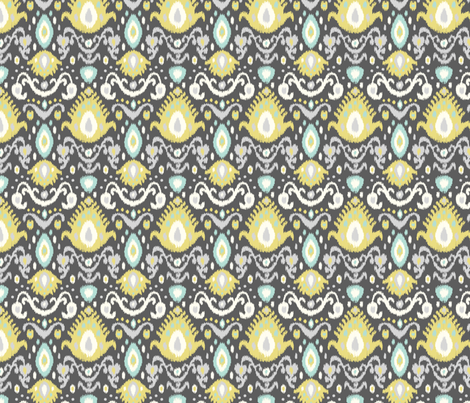Yellow and Aqua Ikat fabric by sweetzoeshop on Spoonflower - custom fabric