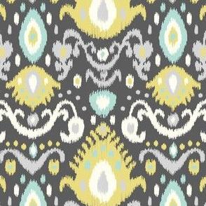 Yellow and Aqua Ikat