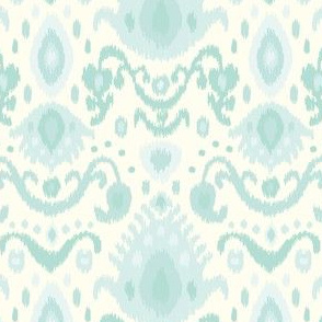 Ivory and Mint Ikat