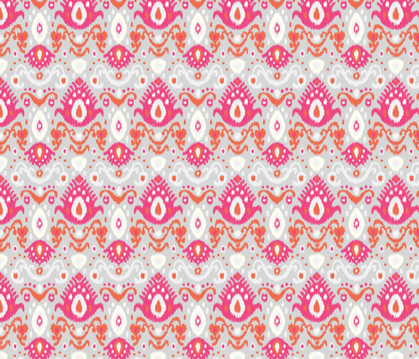 Pink Coral and Gray Ikat fabric by sweetzoeshop on Spoonflower - custom fabric