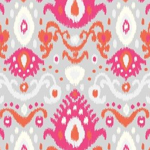 Pink Coral and Gray Ikat