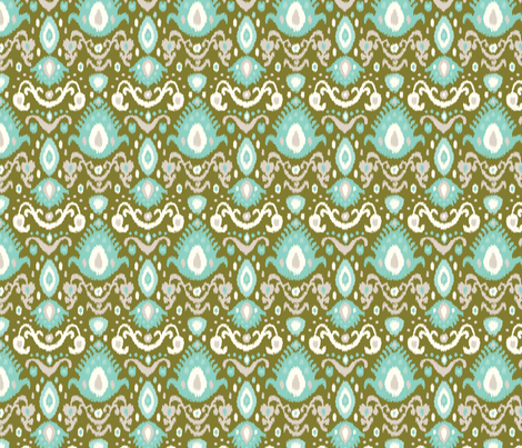 Olive and Aqua Ikat fabric by sweetzoeshop on Spoonflower - custom fabric