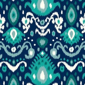 Navy and Teal Ikat