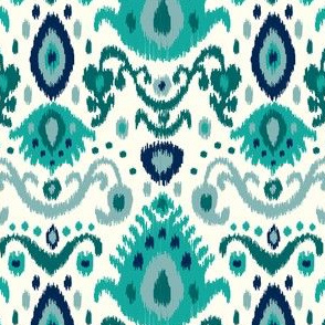 Ivory Teal and Navy Ikat