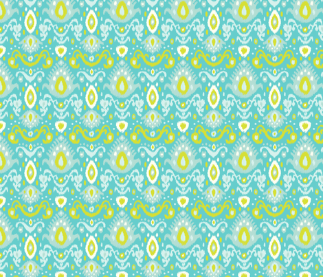 Turquoise and Lime Ikat fabric by sweetzoeshop on Spoonflower - custom fabric