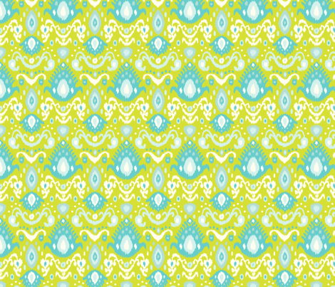 Lime and Turquoise Ikat fabric by sweetzoeshop on Spoonflower - custom fabric