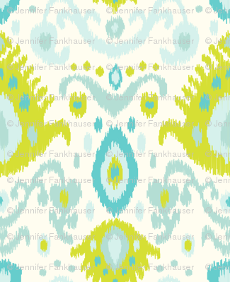Ivory Lime and Turquoise Ikat