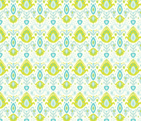 Ivory Lime and Turquoise Ikat fabric by sweetzoeshop on Spoonflower - custom fabric