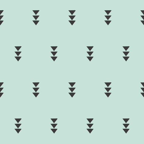 Triple triangle on mint fabric by coramaedesign on Spoonflower - custom fabric