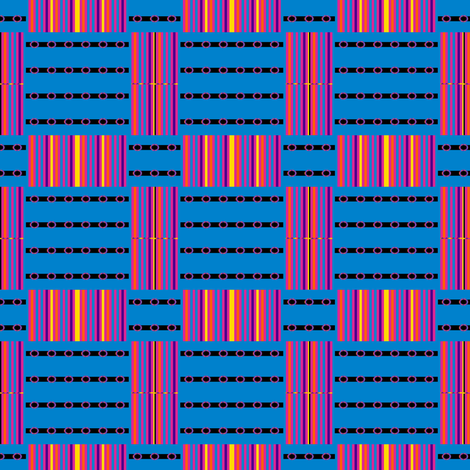 Belt Buckles and Rainbow Stripes on Blue fabric by anniedeb on Spoonflower - custom fabric