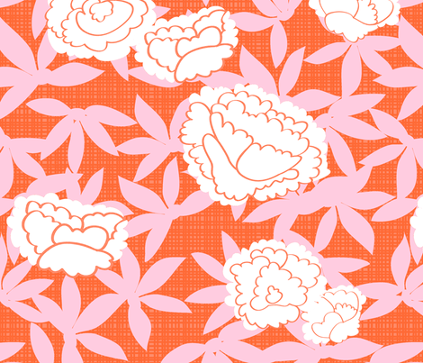 Zen_Floral- orange bkground fabric by fable_design on Spoonflower - custom fabric
