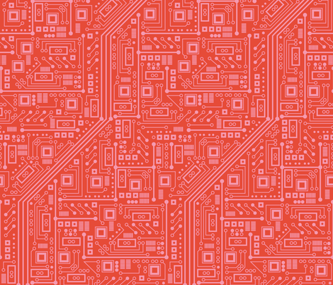 Robot Circuit Board (Coral) fabric by robyriker on Spoonflower - custom fabric