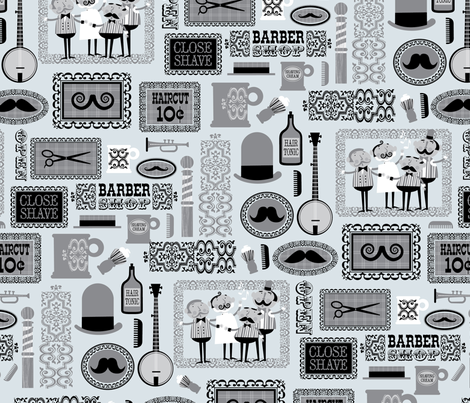 Barber Shop (ice gray) fabric by edward_elementary on Spoonflower - custom fabric